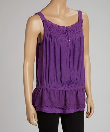 Purple Shirred Tank