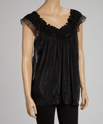 Black Lace Angel-Sleeve Yoke Top