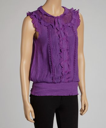 Purple Ruffle Angel-Sleeve Top