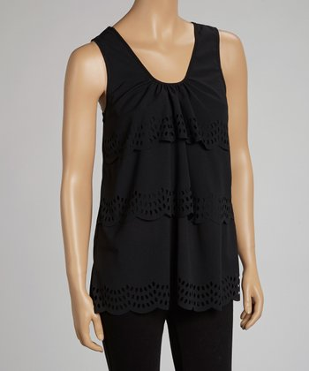 Black Eyelet Scoop Neck Tank