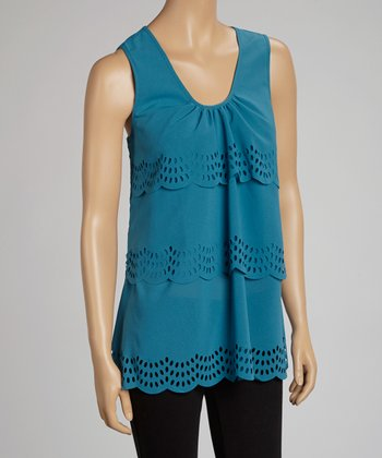 Teal Eyelet Scoop Neck Tank