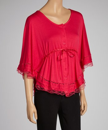 Pink Lace Cape-Sleeve Top