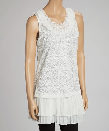 Ivory Pleated Lace Tank