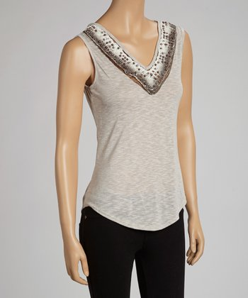 Brown & Gray Lace Crocheted Open-Back Tank
