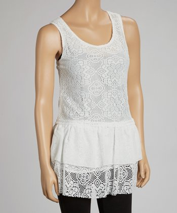 Ivory Lace Drop-Waist Crocheted Tank