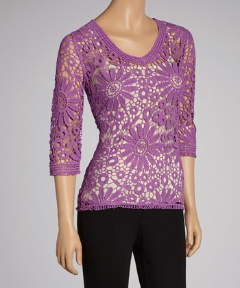 Purple Sheer Floral Lace Crocheted Top