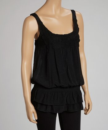 Black Lace Crocheted Tank