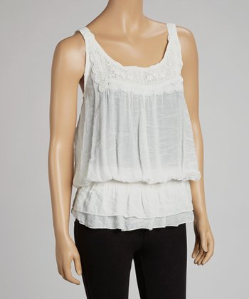 Ivory Lace Crocheted Tank
