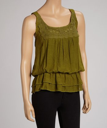 Olive Lace Crocheted Tank