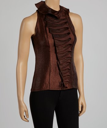 Brown Tiered Ruffle Sleeveless Yoke Top
