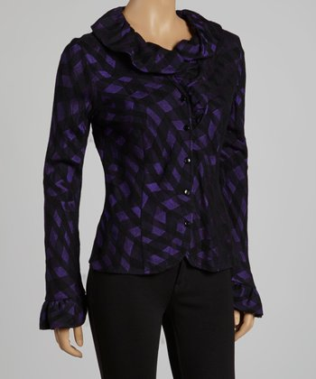 Black & Purple Ruffle Button-Up Top