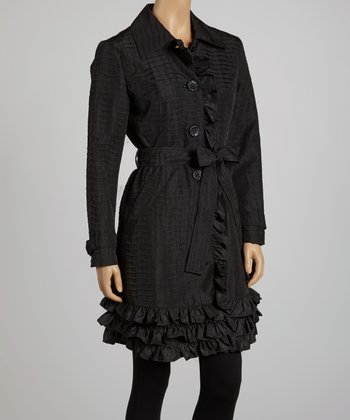 Black Ruffle Trench Coat