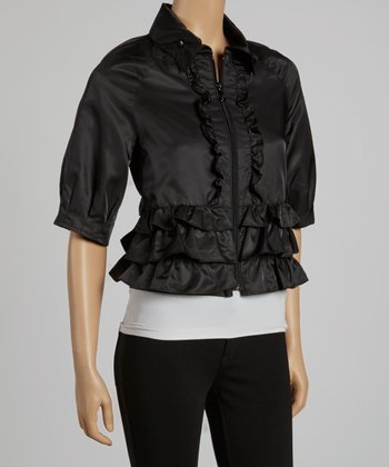 Black Tiered Ruffle Cropped Jacket