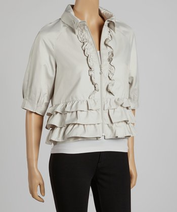 Bone Tiered Ruffle Cropped Jacket