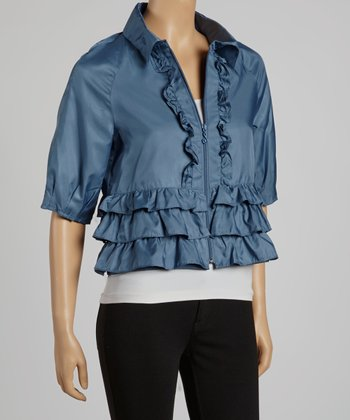 Denim Tiered Ruffle Cropped Jacket