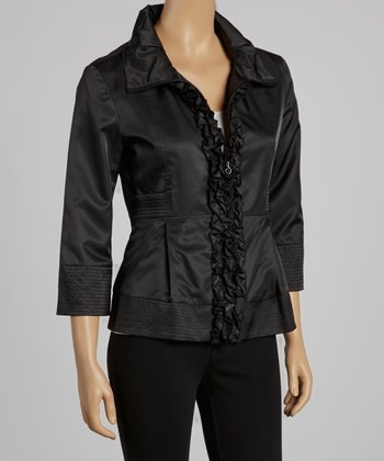 Black Ruffle Zip-Up Jacket