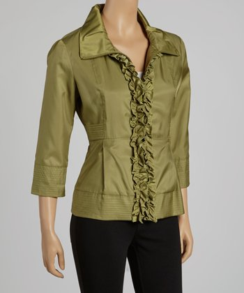 Olive Ruffle Zip-Up Jacket