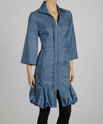 Denim Pleated Ruffle Hem Jacket