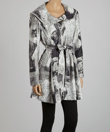 Gray Newspaper Zip-Up Trench Coat