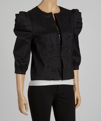 Black Puff-Sleeve Jacket