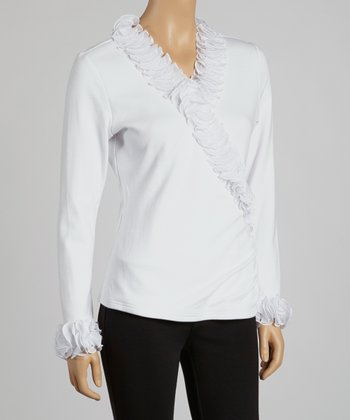 White Ruffle Surplice Top
