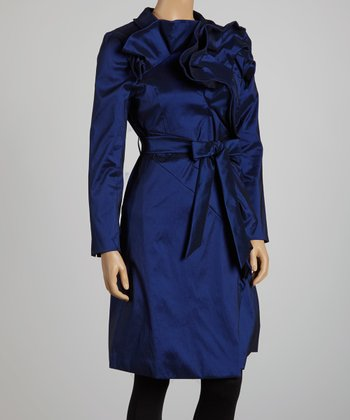 Midnight Ruffle Trench Coat