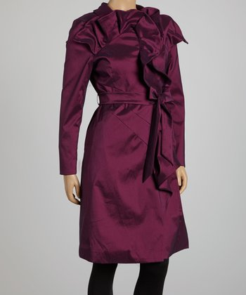 Purple Ruffle Trench Coat