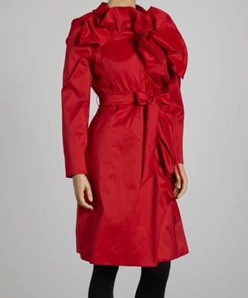 Red Ruffle Trench Coat