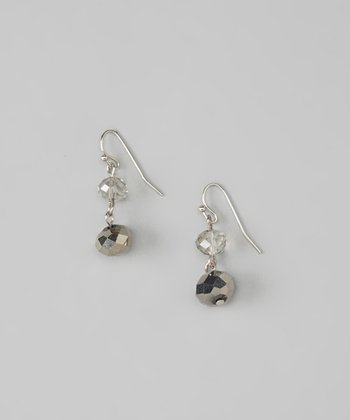 Hematite & Gray Crystal Drop Earrings