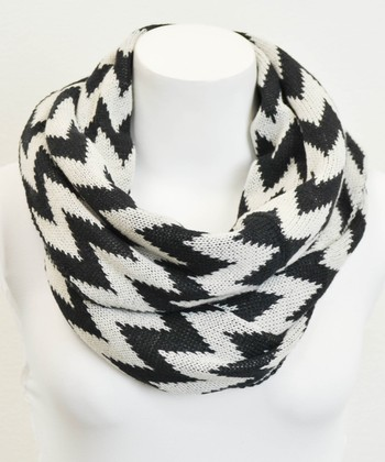 Black & White Two-Tone Zigzag Infinity Scarf