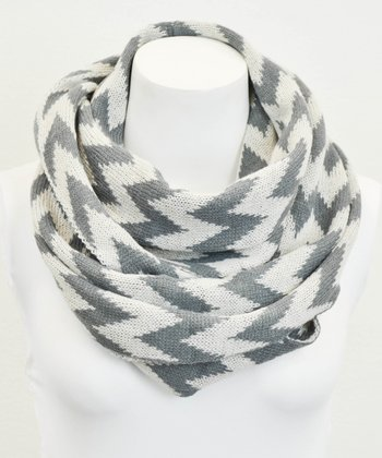 Leto Collection Gray Zigzag Infinity Scarf