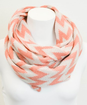 Peach & White Two-Tone Zigzag Infinity Scarf