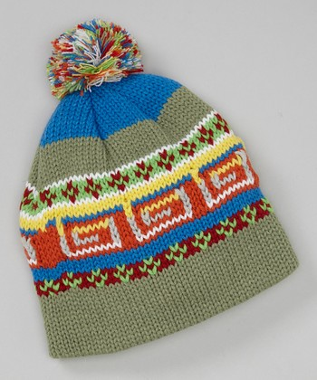 Green Tribal Pom-Pom Beanie