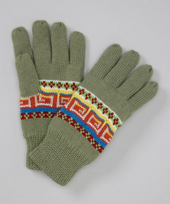 Green Tribal Gloves
