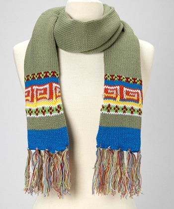 Green Tribal Scarf