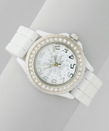White Snowflake Wide-Link Watch