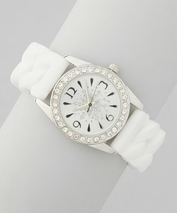 White Snowflake Twist Stretch Watch