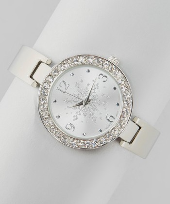 Silver Snowflake Circle Watch