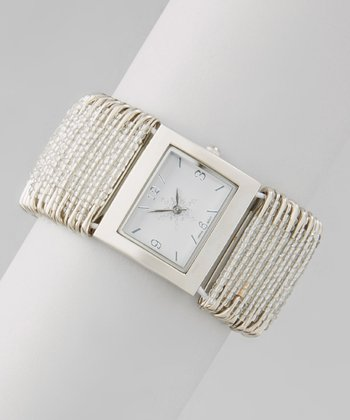Silver & White Snowflake Beaded Stretch Watch