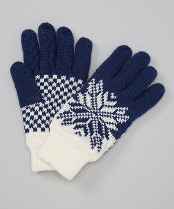 Blue Snowflake Gloves