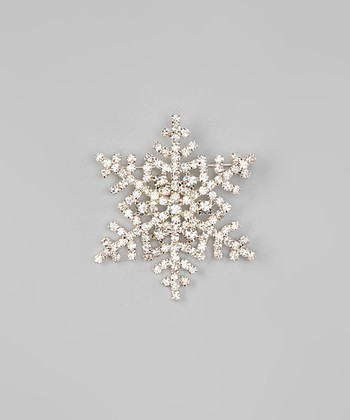 Silver Greetings Snowflake Brooch