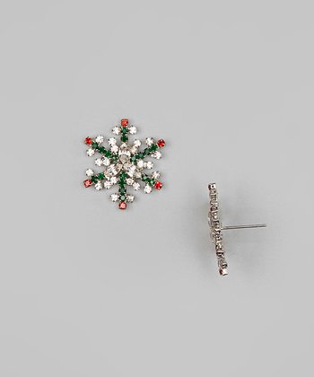 Ruby, Onyx & Silver Snowflake Earrings