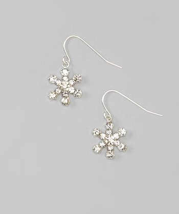 Silver Snowflake Drop Earrings