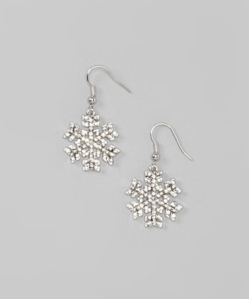Silver Chunky Snowflake Drop Earrings