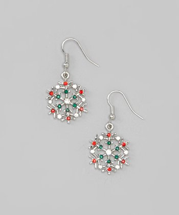 Red, Green & Silver Snowflake Drop Earrings
