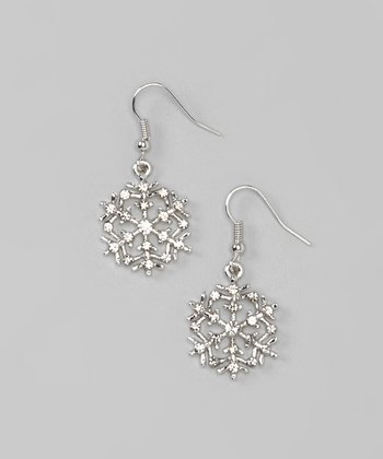 Silver Sparkle Snowflake Drop Earrings
