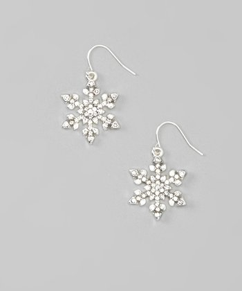 Silver Shimmer Snowflake Drop Earrings