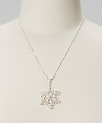Silver North Pole Snowflake Pendant Necklace