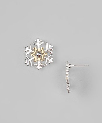 Gold & Silver Two-Tone Snowflake Earrings