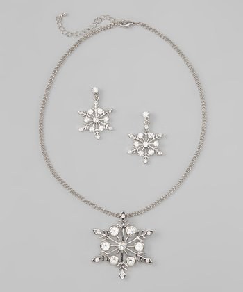Silver Glacier Snowflake Necklace & Earrings